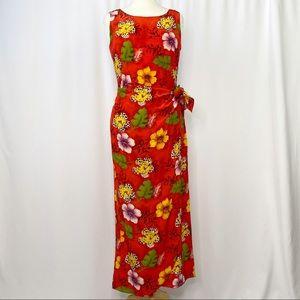 vintage 100% silk floral midi wrap dress